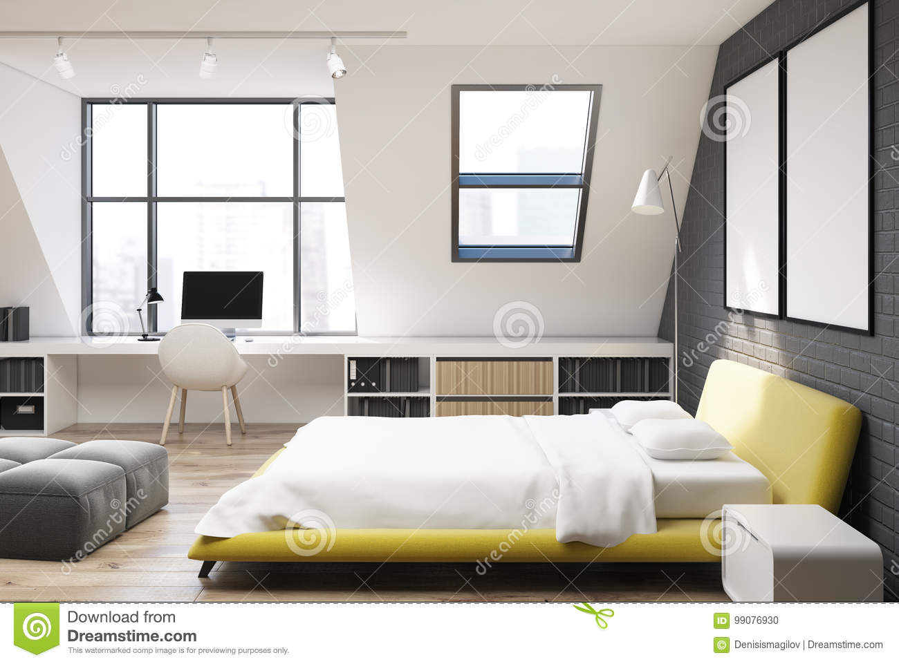 Brick Wall Bedroom And Home Office Yellow Side Stock Illustration