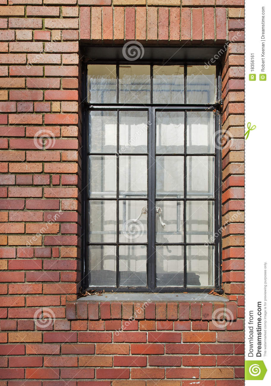 Brick Wall Black Rimmed Window Stock Image Image 18356161