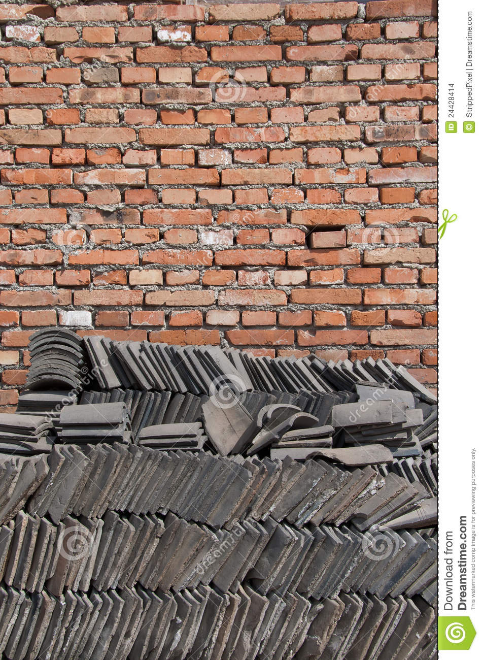 Brick Wall And Chinese Tiles Stock Images Image 24428414