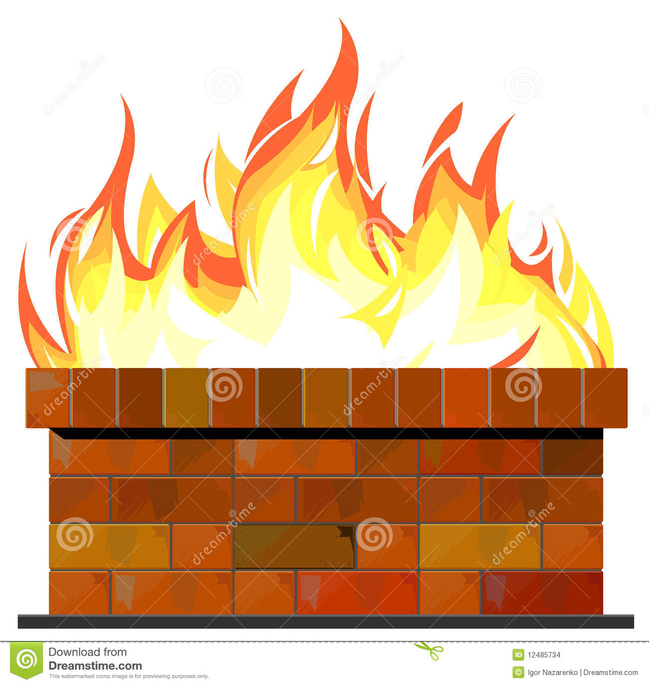 Brick wall on fire stock vector. Illustration of background - 12485734
