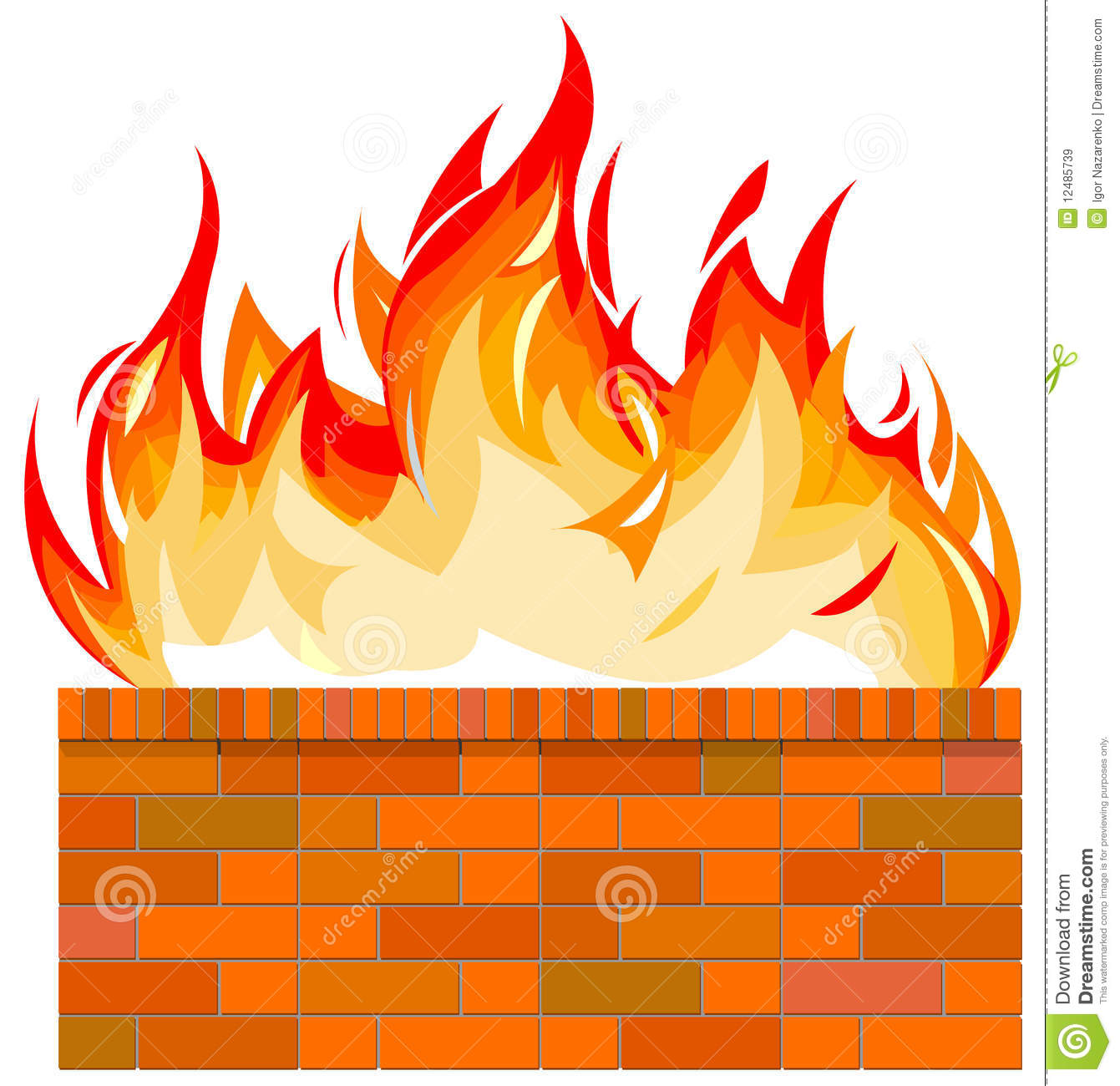 Brick wall on fire stock vector. Illustration of yellow - 12485739