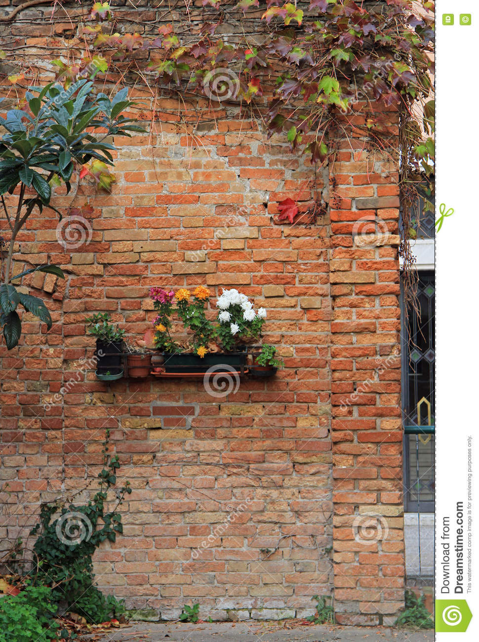 The Brick Wall With Flowerbed Stock Image Image Of Green
