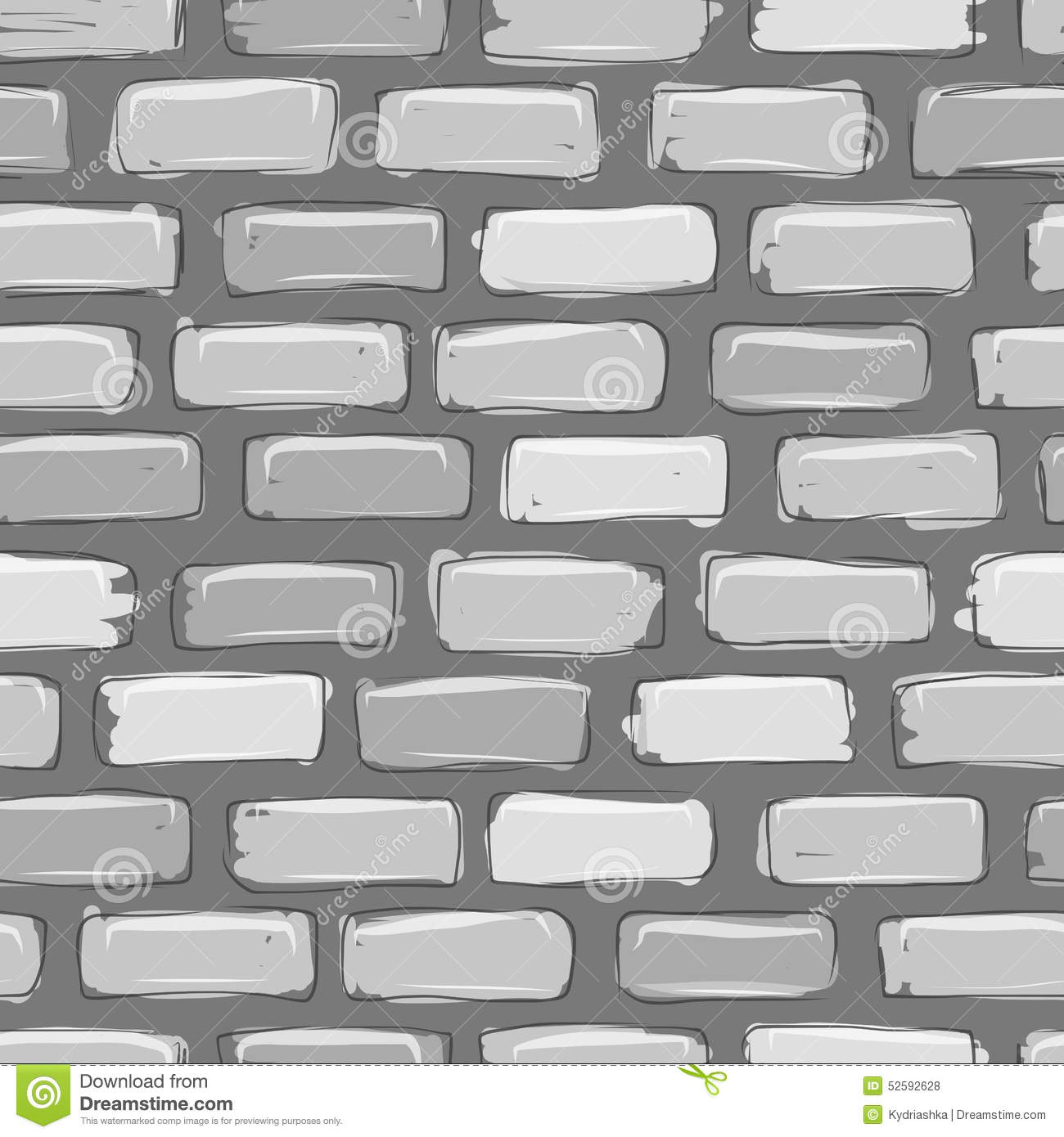 Gray Cartoon Brick Wall Texture : Brick wall grey sketch for your design stock vector