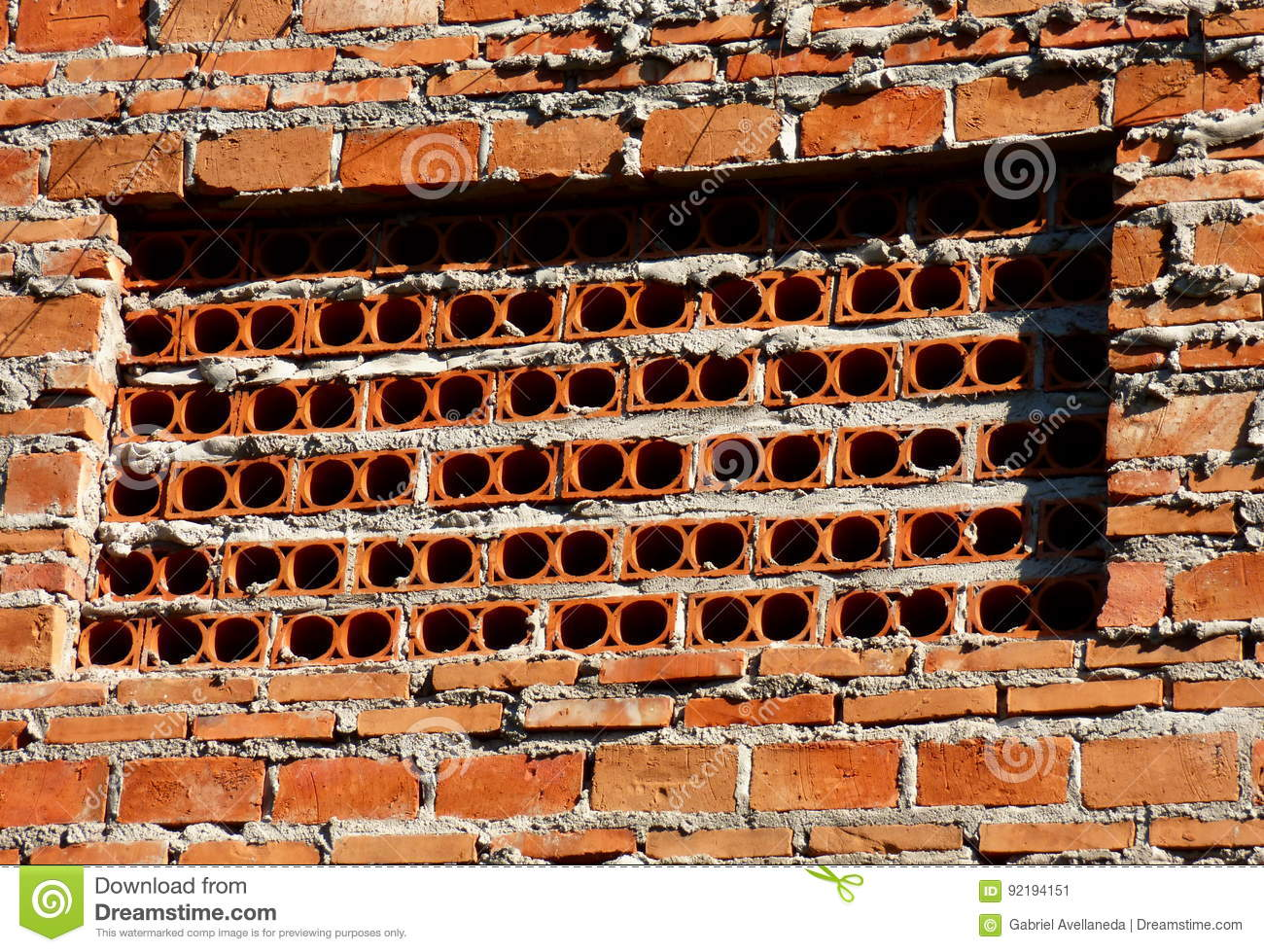 Brick Wall With Holes Stock Image Image Of Cement