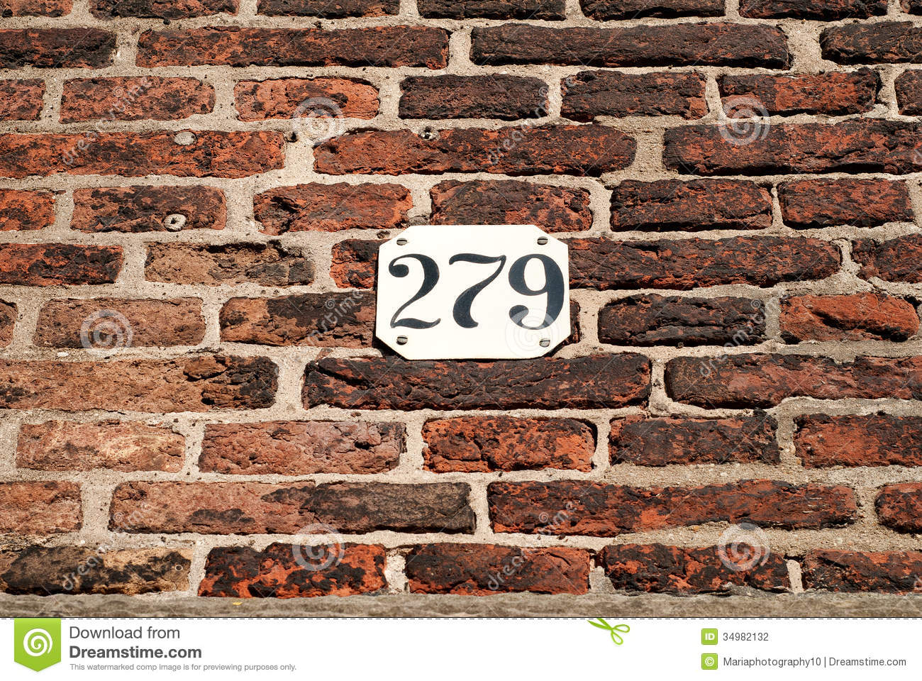 Brick Wall With House Number Stock Photography Image 34982132