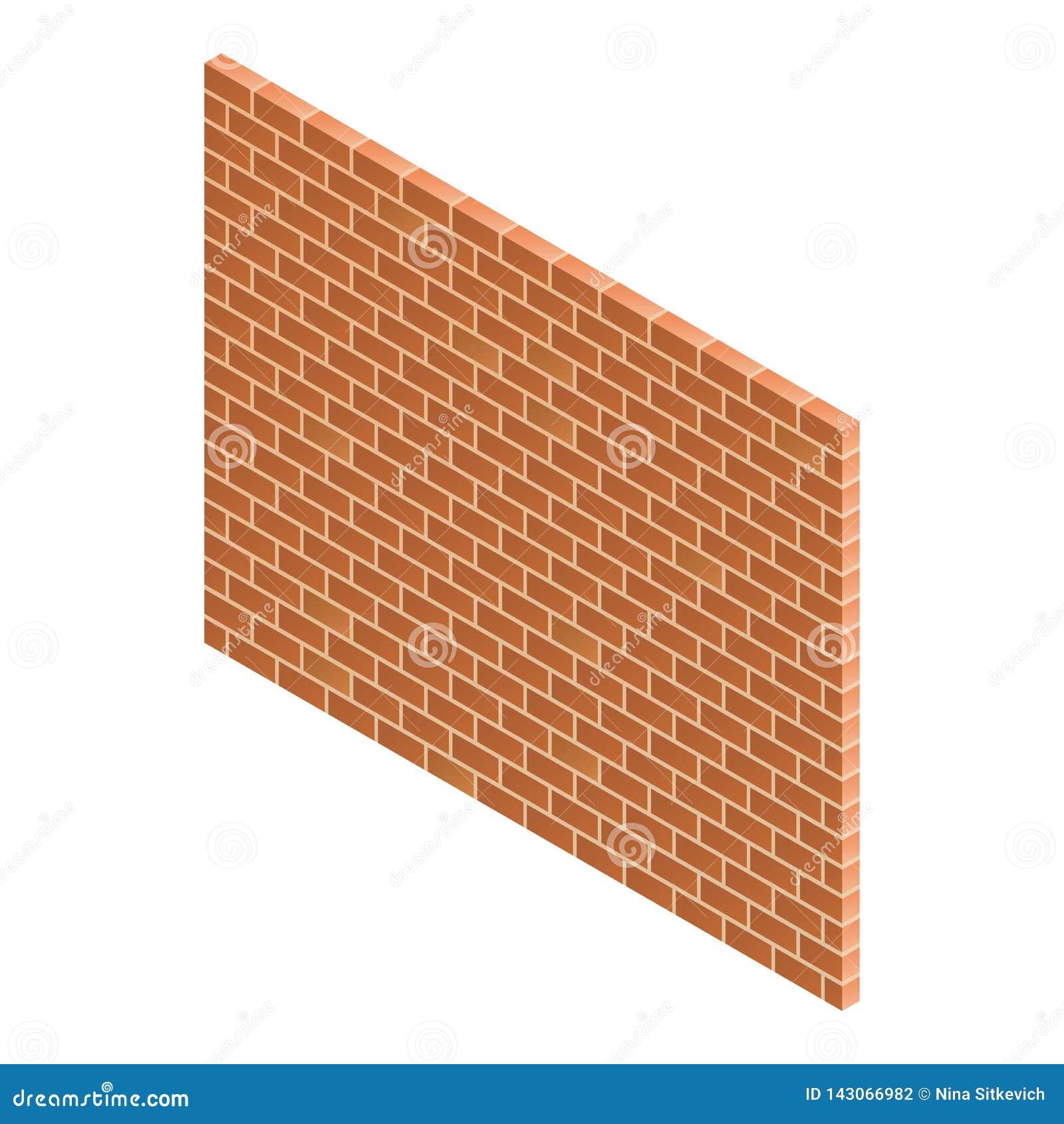 Brick wall icon, isometric style