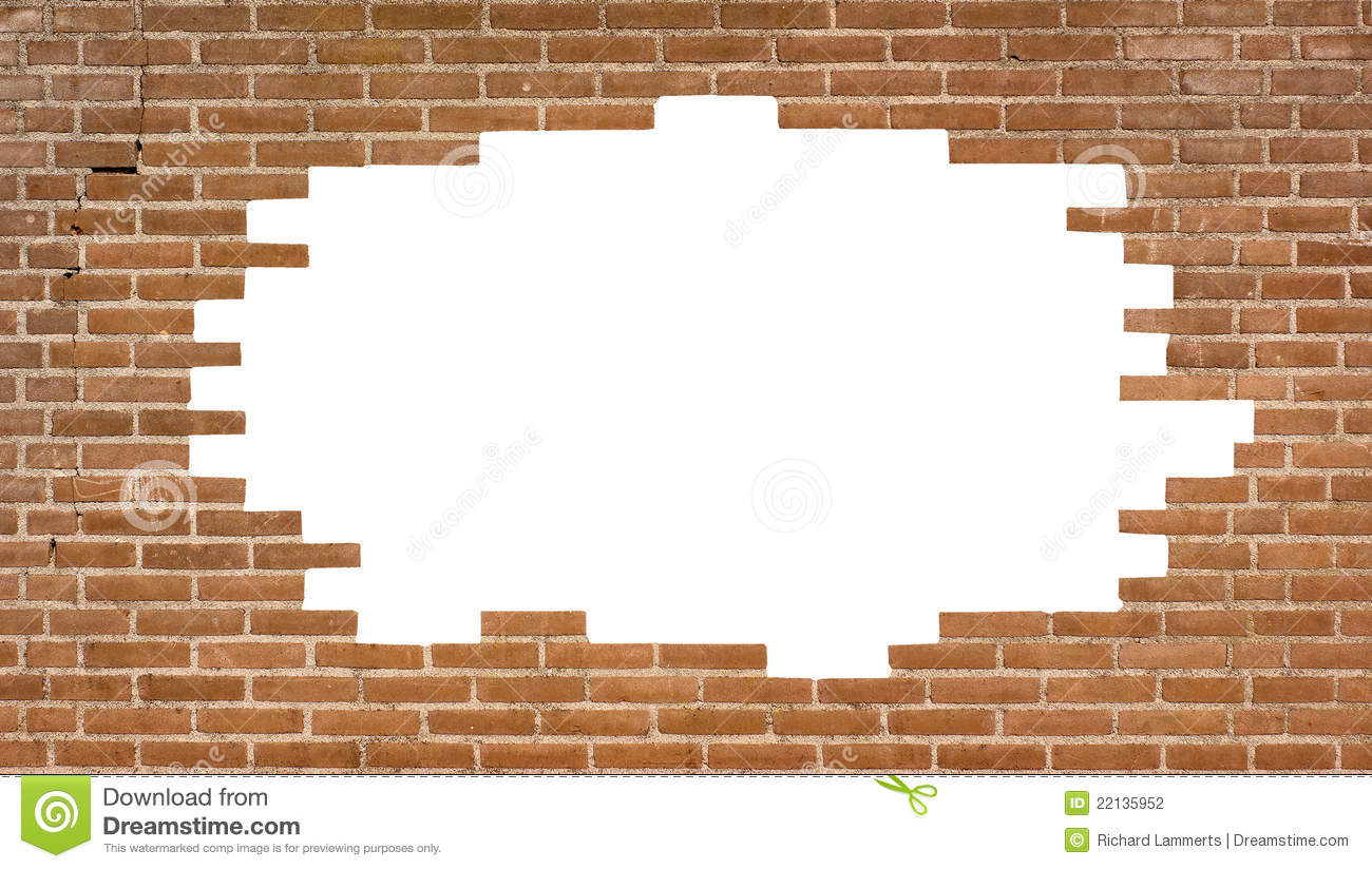 Brick Wall With A Large Hole Stock Photo Image Of House