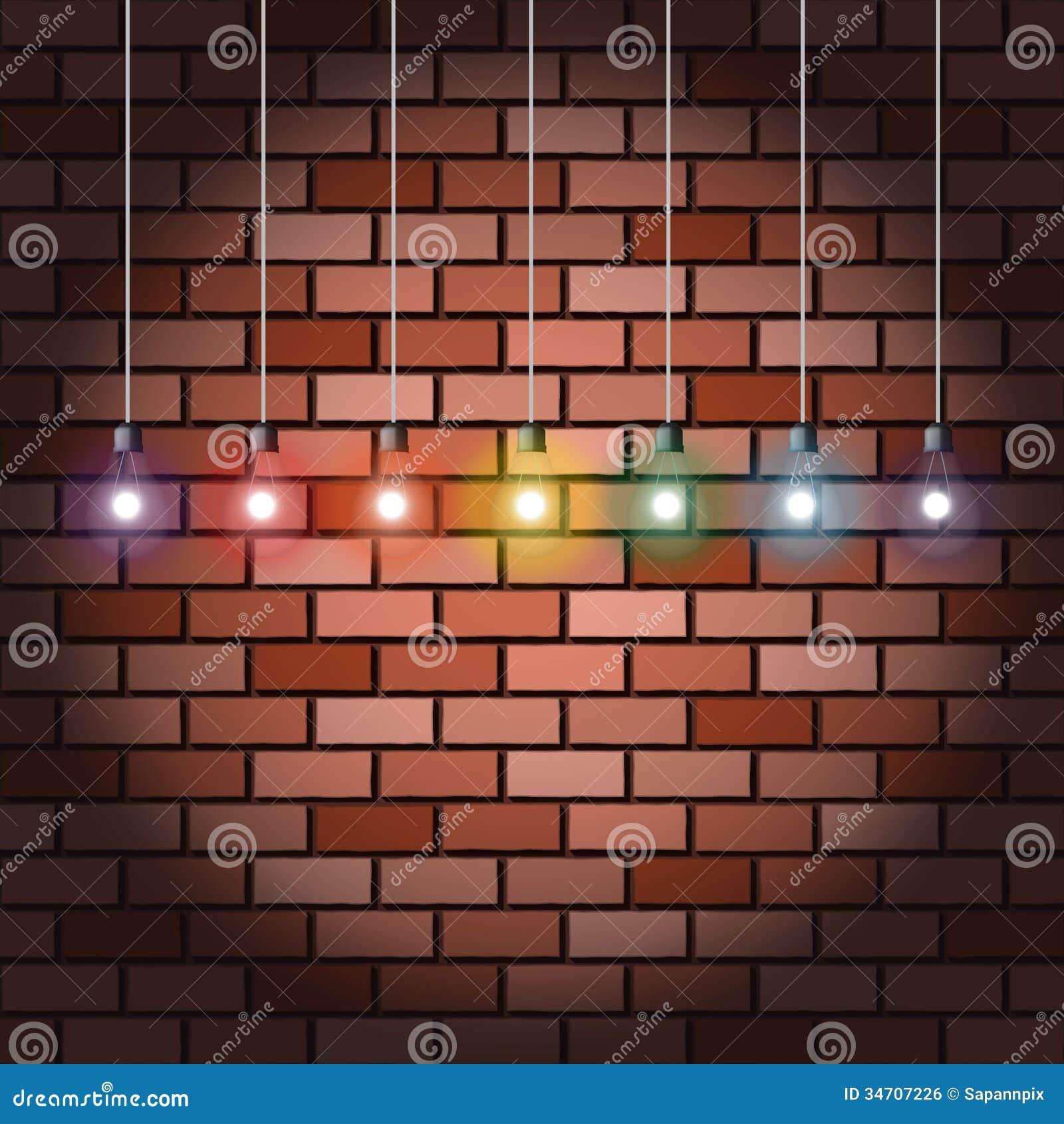 Brick Wall And Light Bulbs Stock Vector Image Of Color