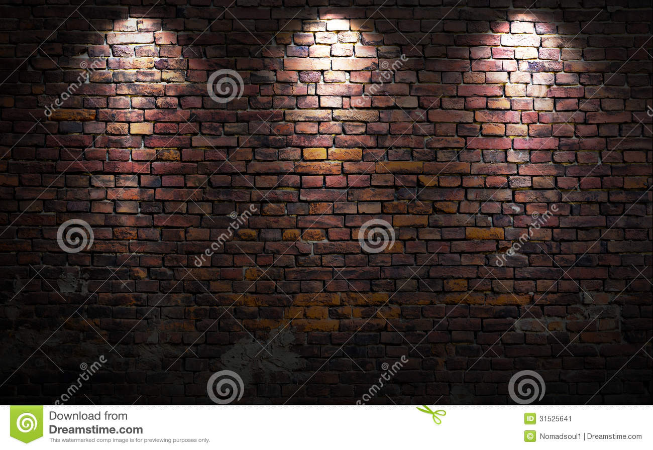 Wall Lights On Brick : Brick wall with lights stock image. Image of abstract - 31525641