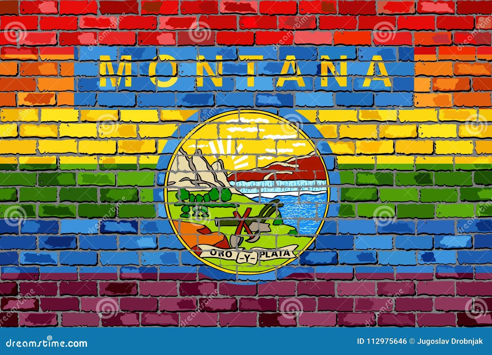 Brick Wall Montana and Gay flags