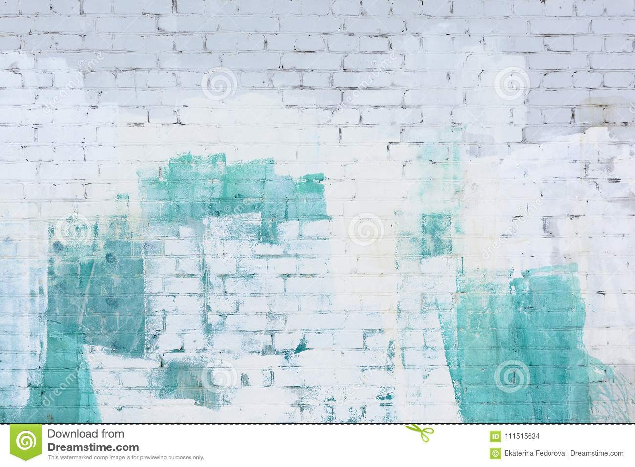 A brick wall painted abstract with white and turquoise paint. Background, texture.