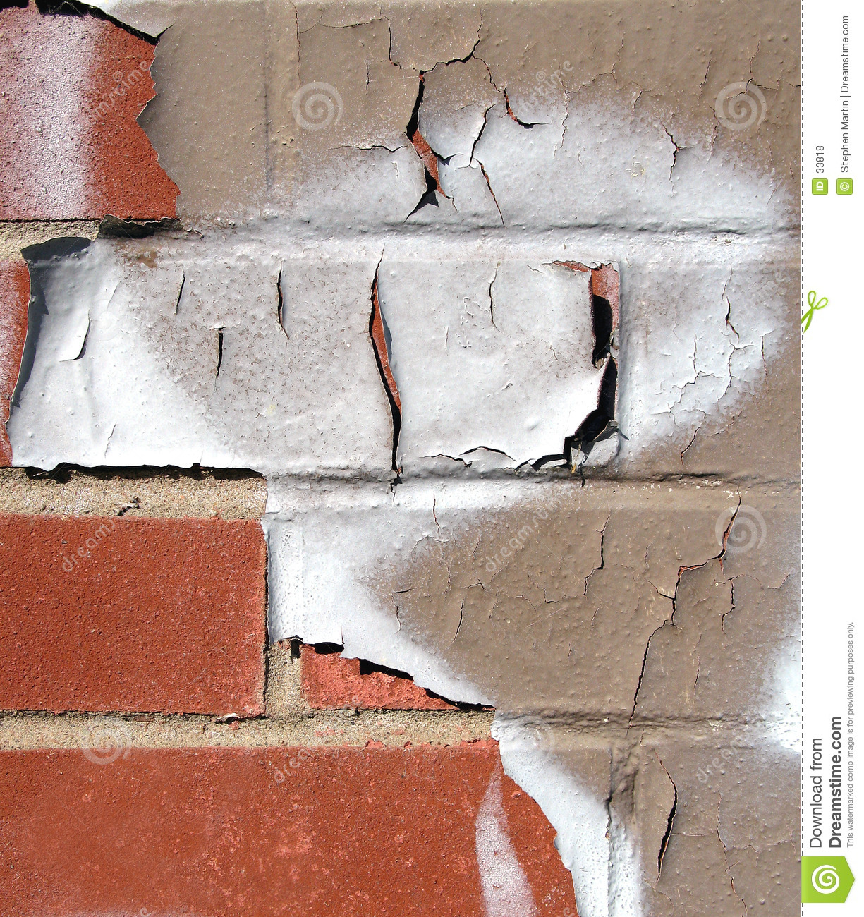 Brick Wall with Peeling Paint