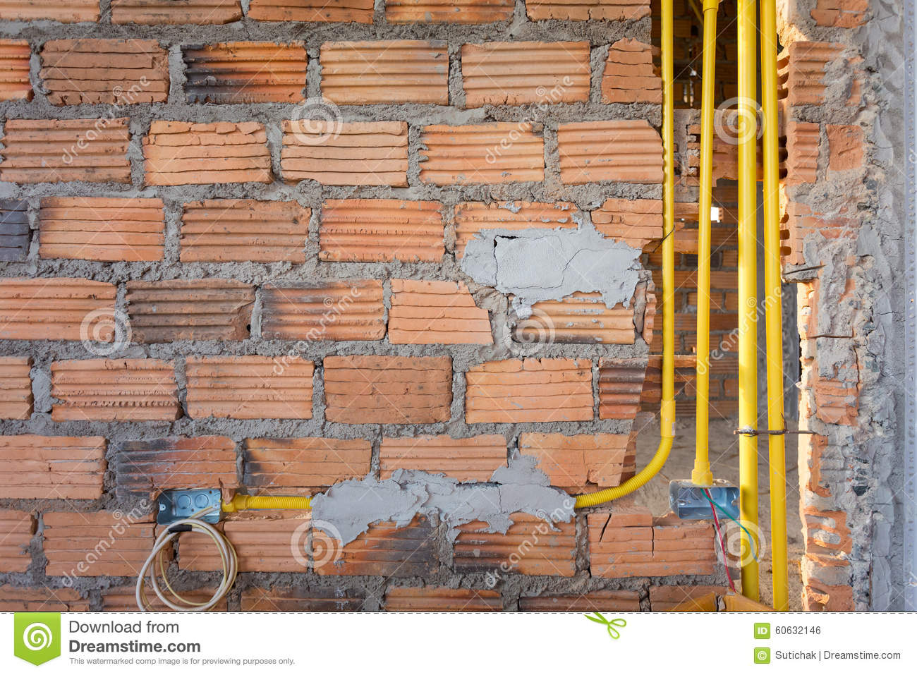 Brick Wall In Residential House Building Construction Site