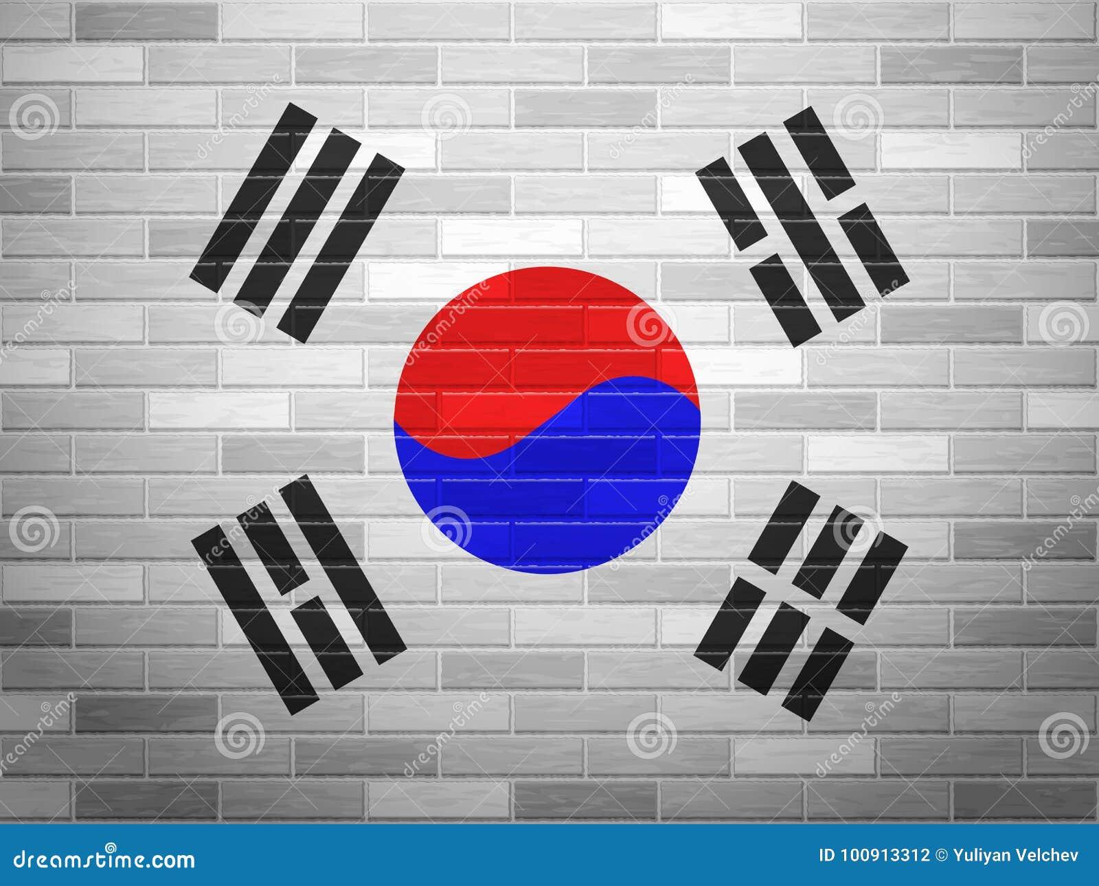 Brick Wall South Korea Flag Stock Vector Illustration Of Texture
