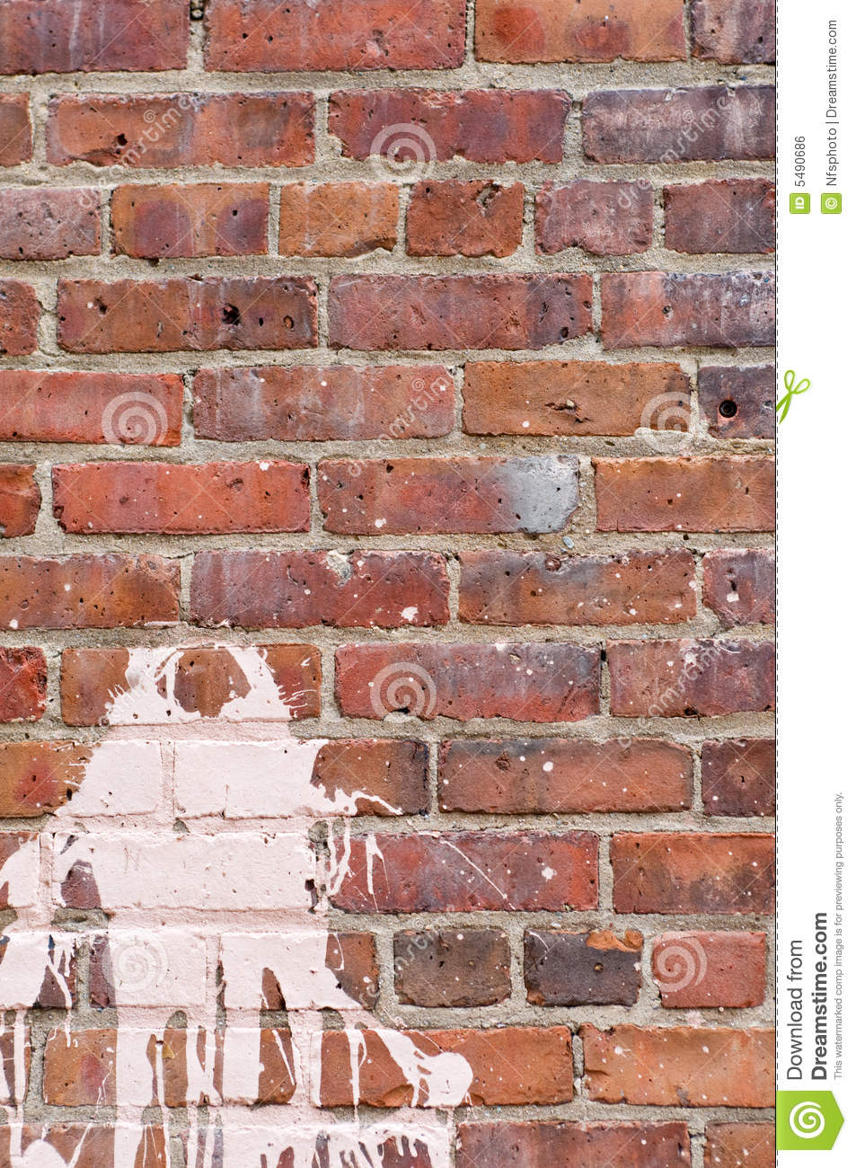 Brick wall with splash of paint stock photo image 5490686 - Removing paint from brick exterior collection ...