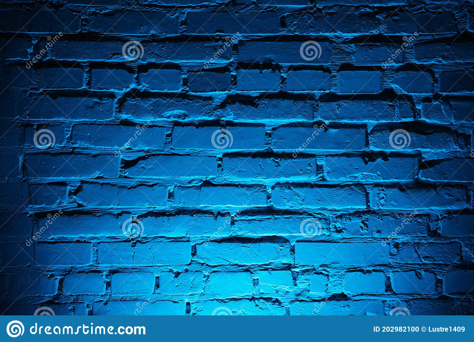 Brick Wall Texture With Light Blue Neon ...