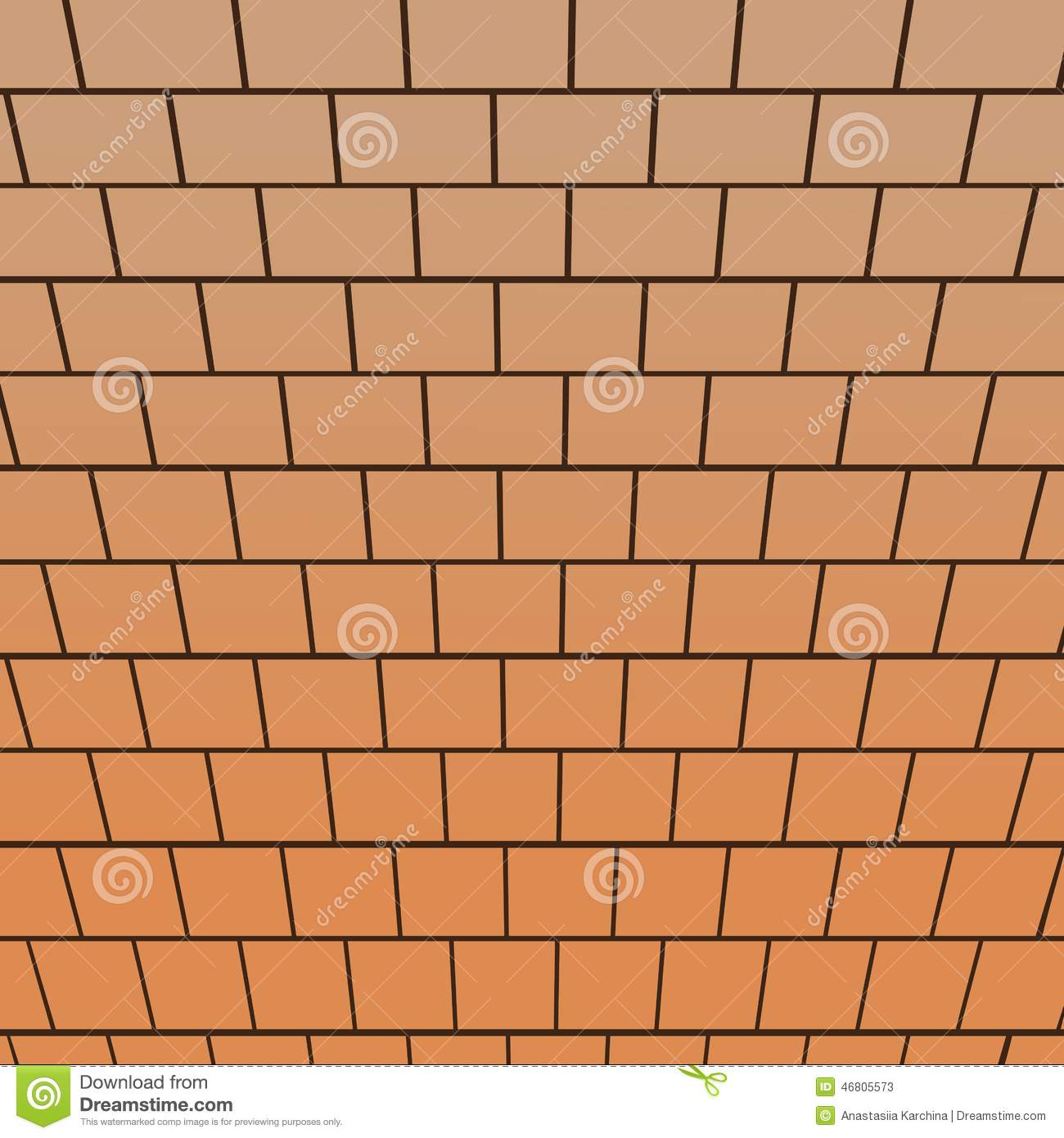 Brick Vector Picture Brick Veneers: Brick Wall, Top-down View Perspective Stock Vector