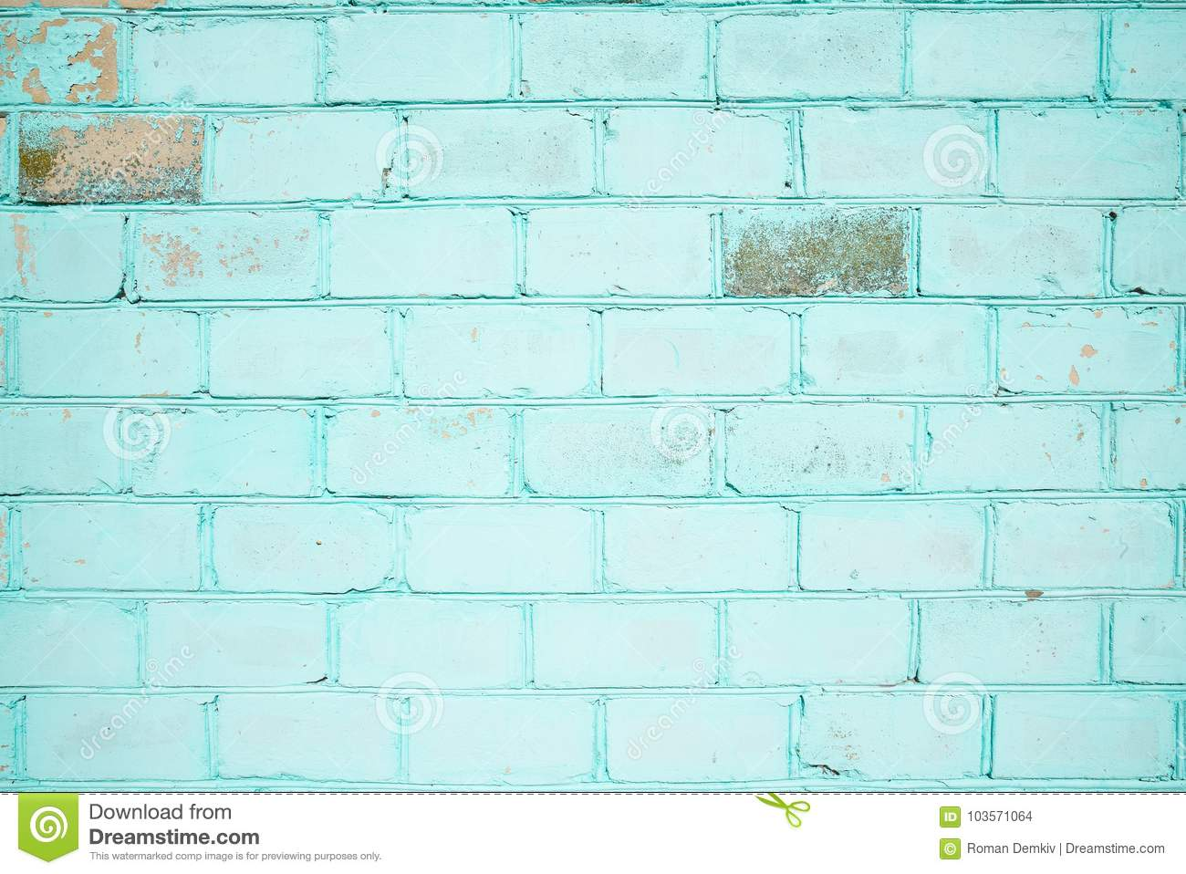 Brick Wall, Turquoise Color, Wallpaper Or Background With Place For ...