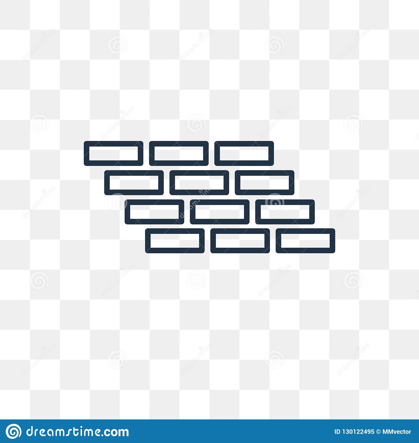 Brick Wall Vector Icon Isolated On Transparent Background Linear