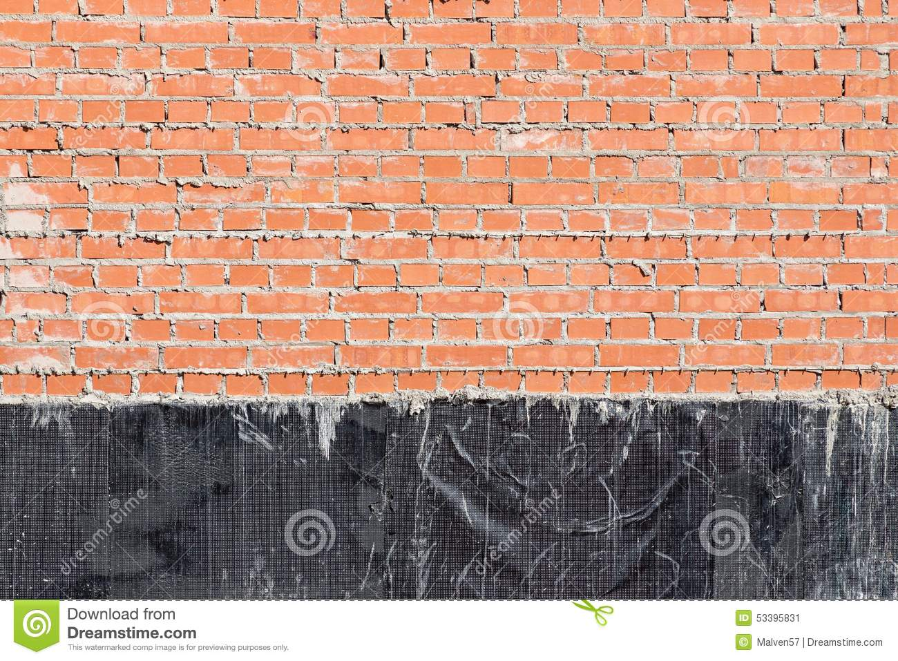 brick wall with a waterproofing stock photo image 53395831