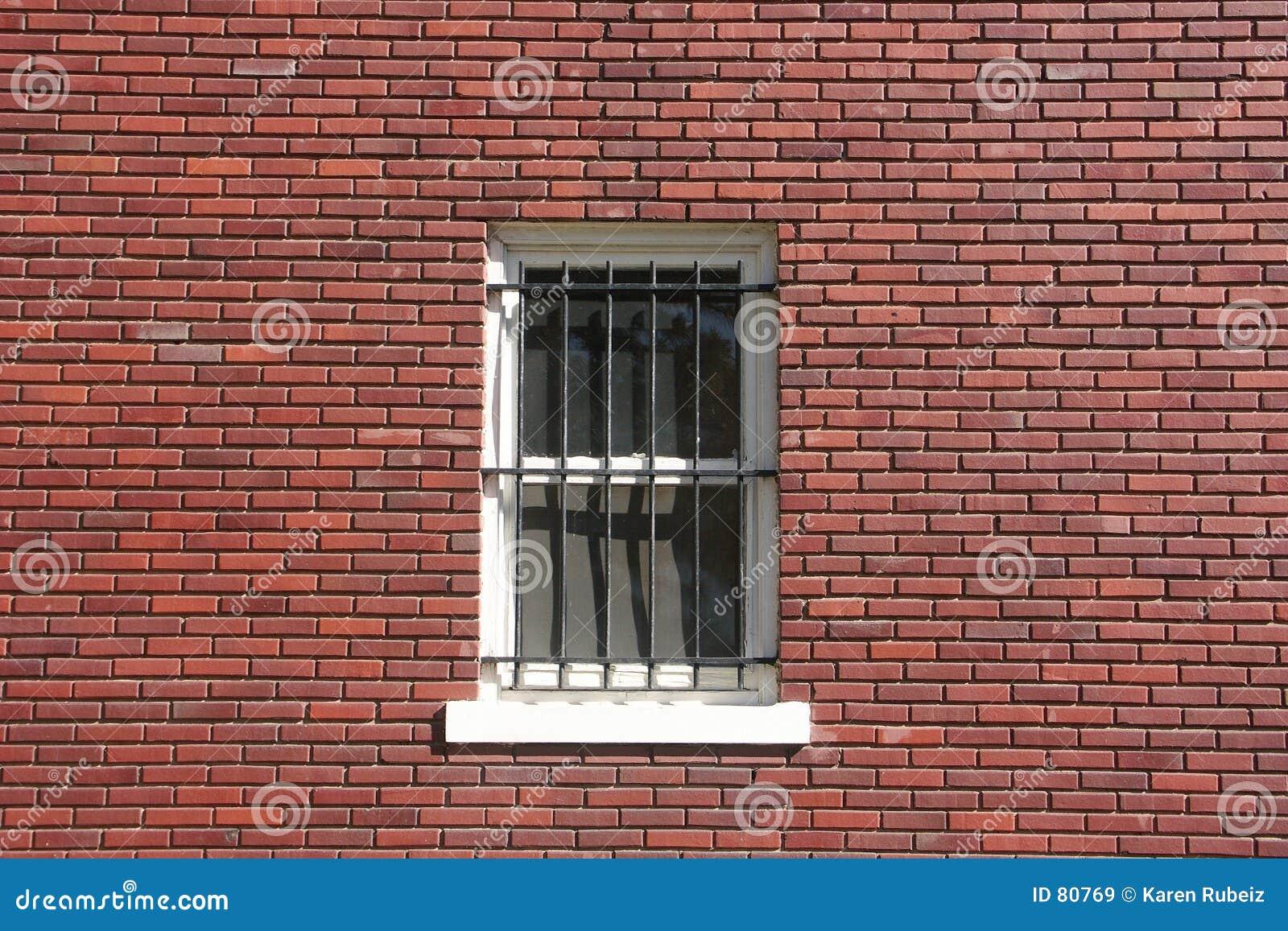 Brick Wall, Window And Bars Stock Image - Image: 80769