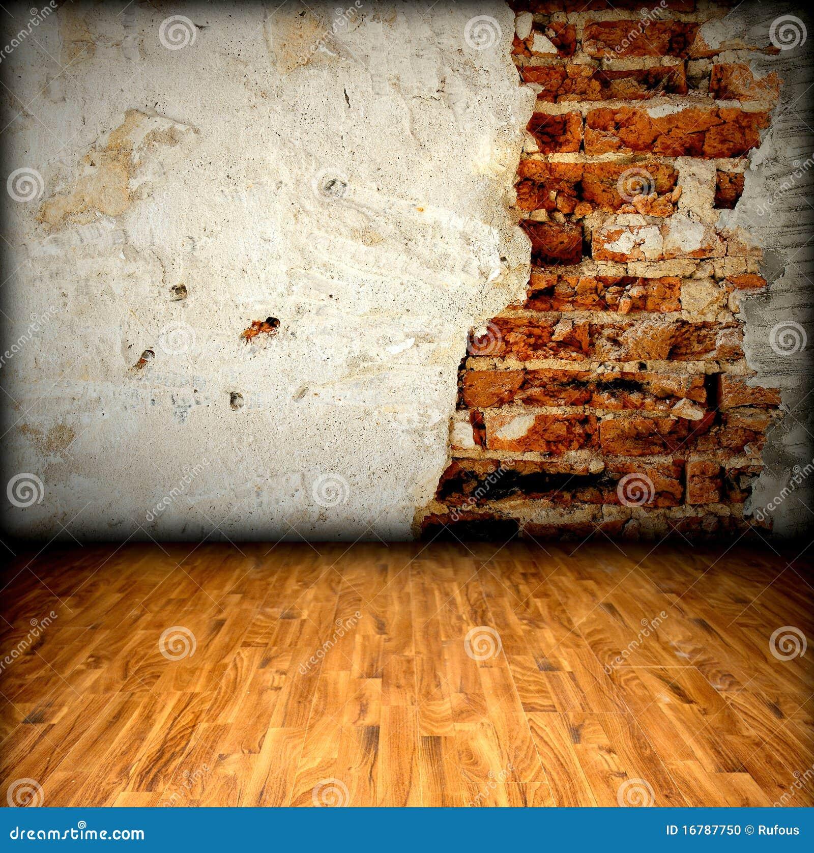 Z Brick Flooring : Brick wall and wood floor stock photo image