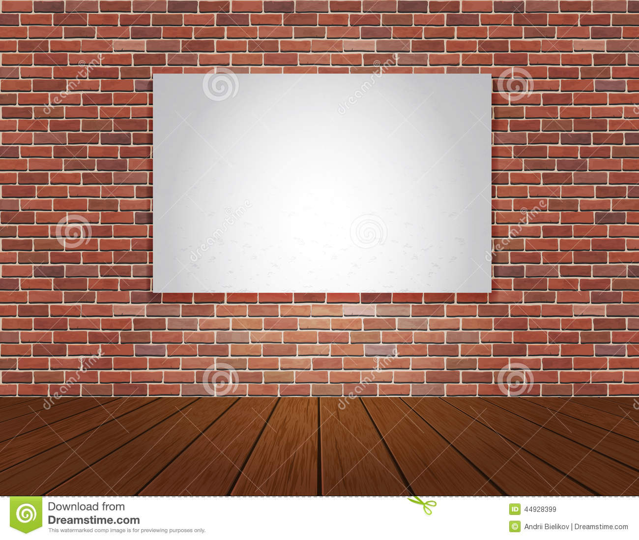 Brick Vector Picture Brick Veneers: Brick Wall And Wood Floor Background Stock Photo