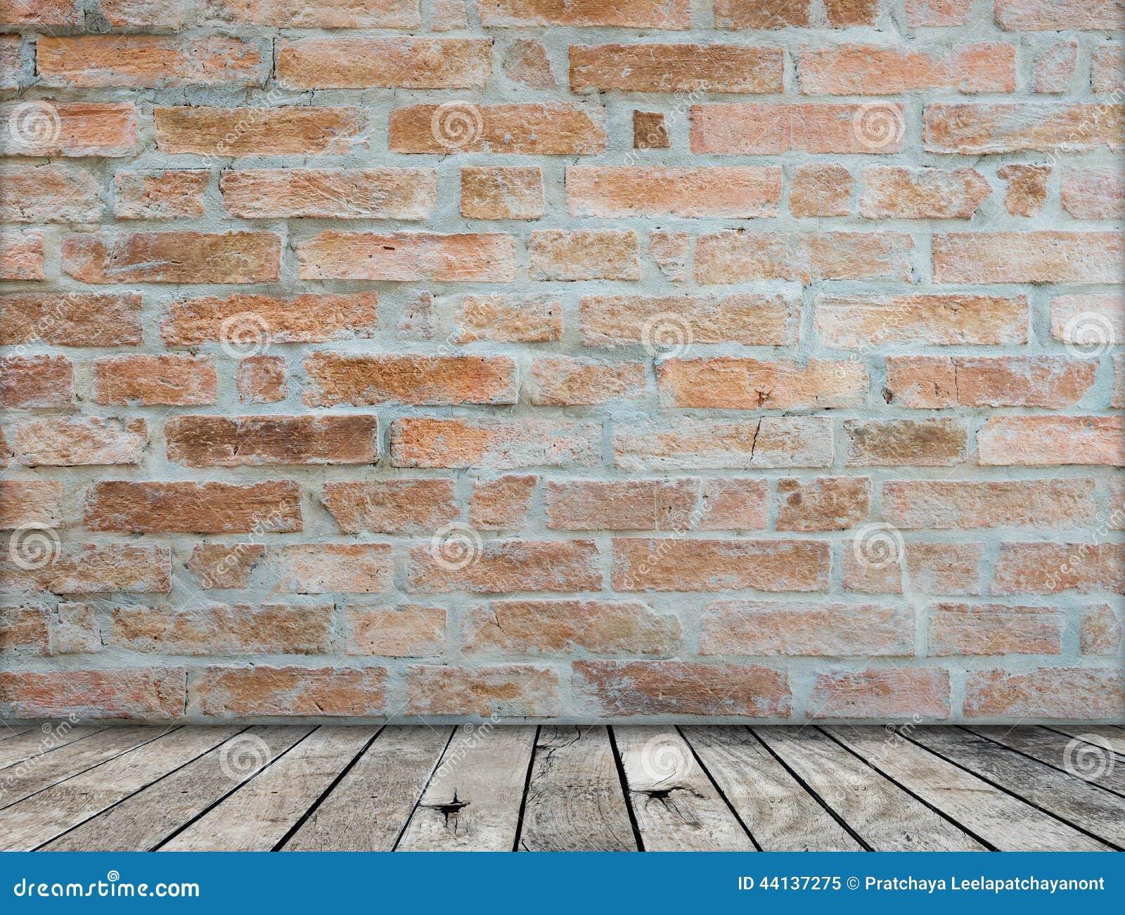 Interior Brick Flooring Pricing : Brick wall on wood floor room stock photo image