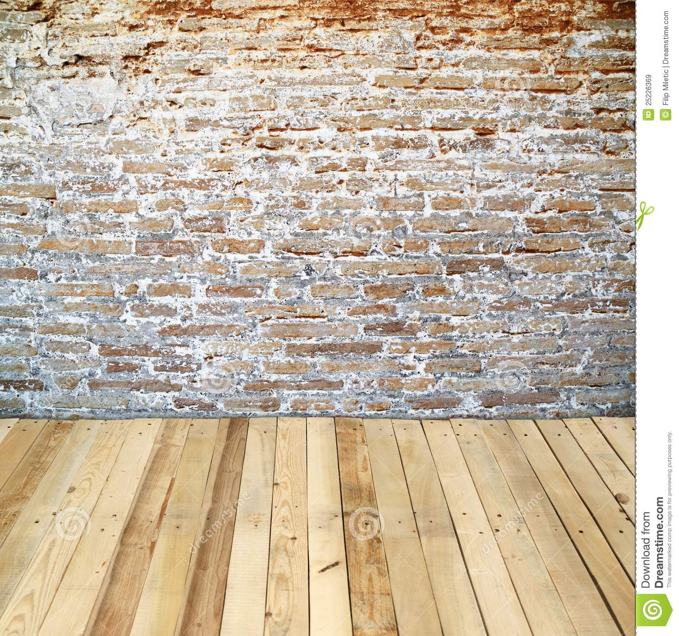 Z Brick Flooring : Brick wall with wooden floor stock image of timber