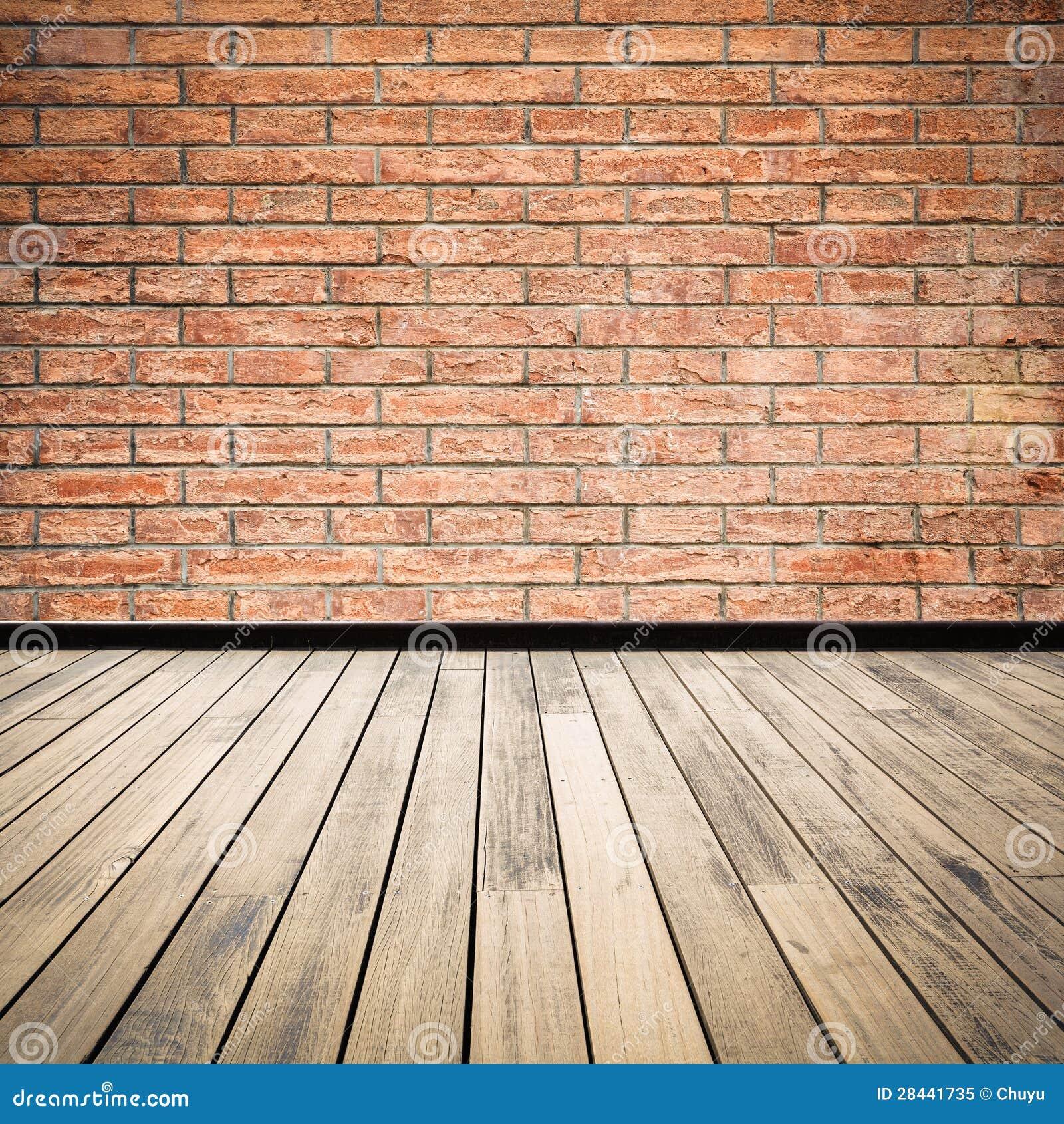 Z Brick Flooring : Brick wall and wooden floor royalty free stock photo