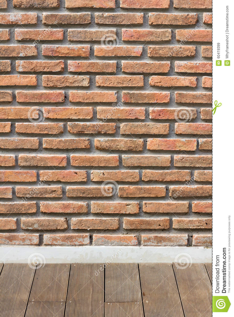 BRICK WALL WITH WOODEN FLOOR Stock Photo - Image: 60419399