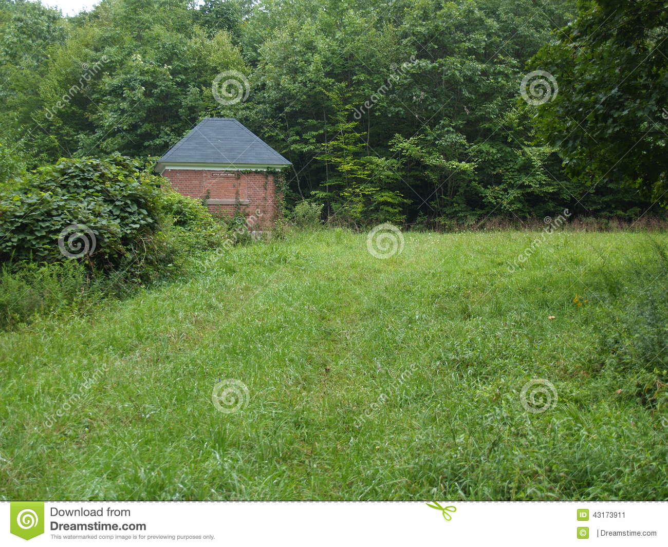 Brick Water Shed In Meadow stock image  Image of forest