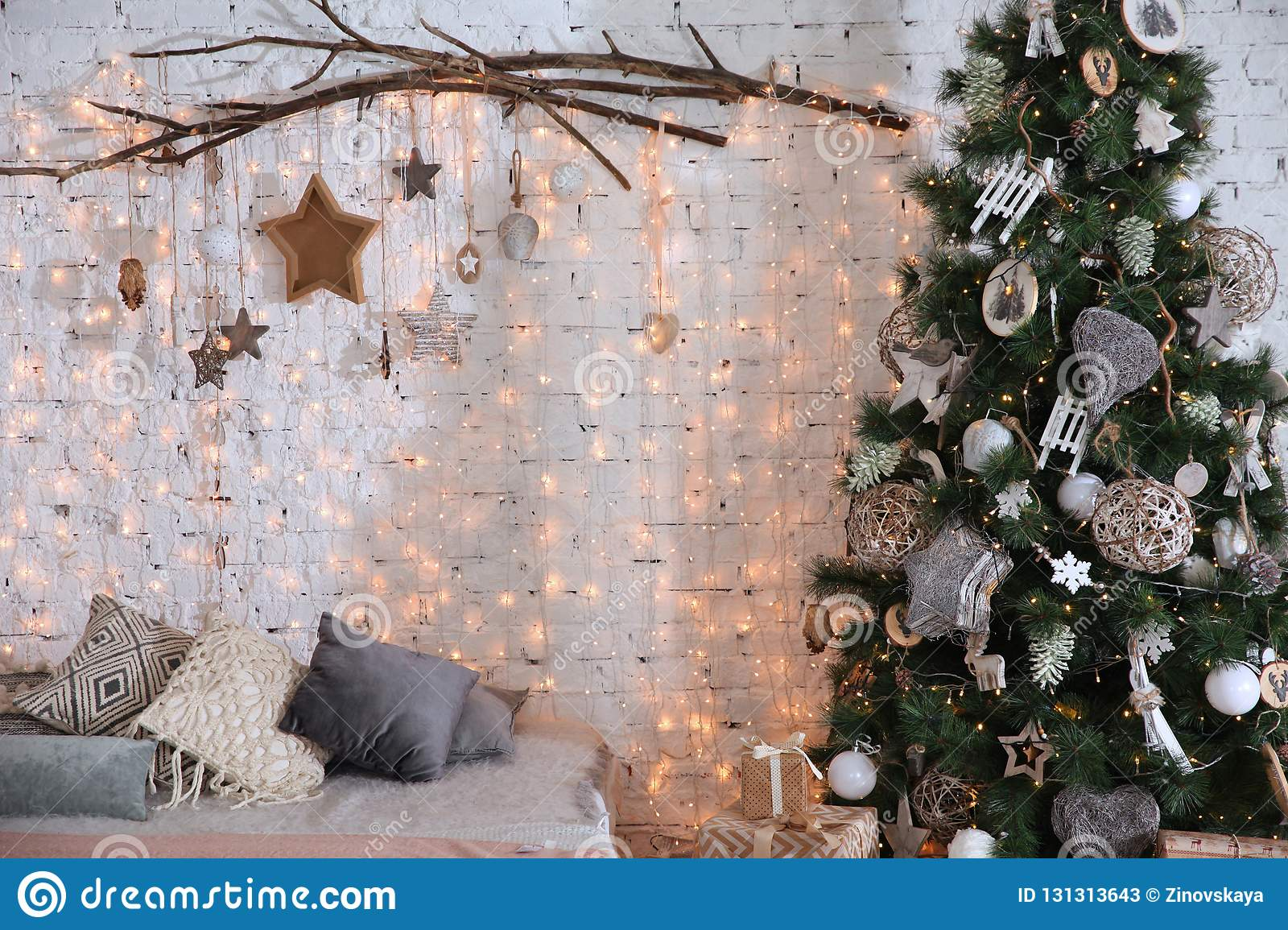 Brick White Wall With Christmas Decor And Christmas Tree Stock Image Image Of House Christmas 131313643