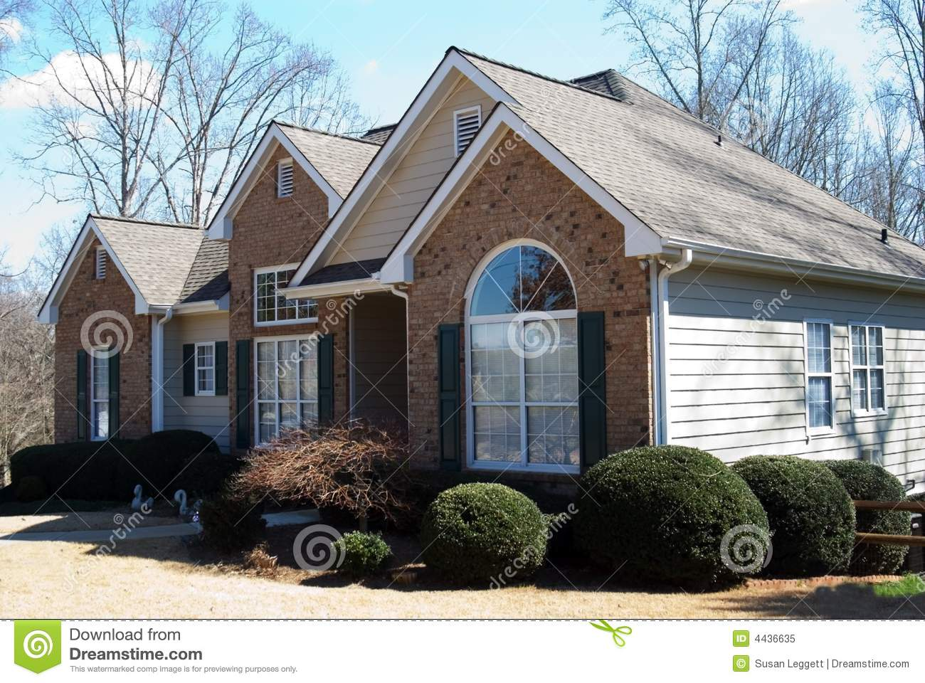 Brick And Wood Home Stock Image Image Of Gutters Family 4436635