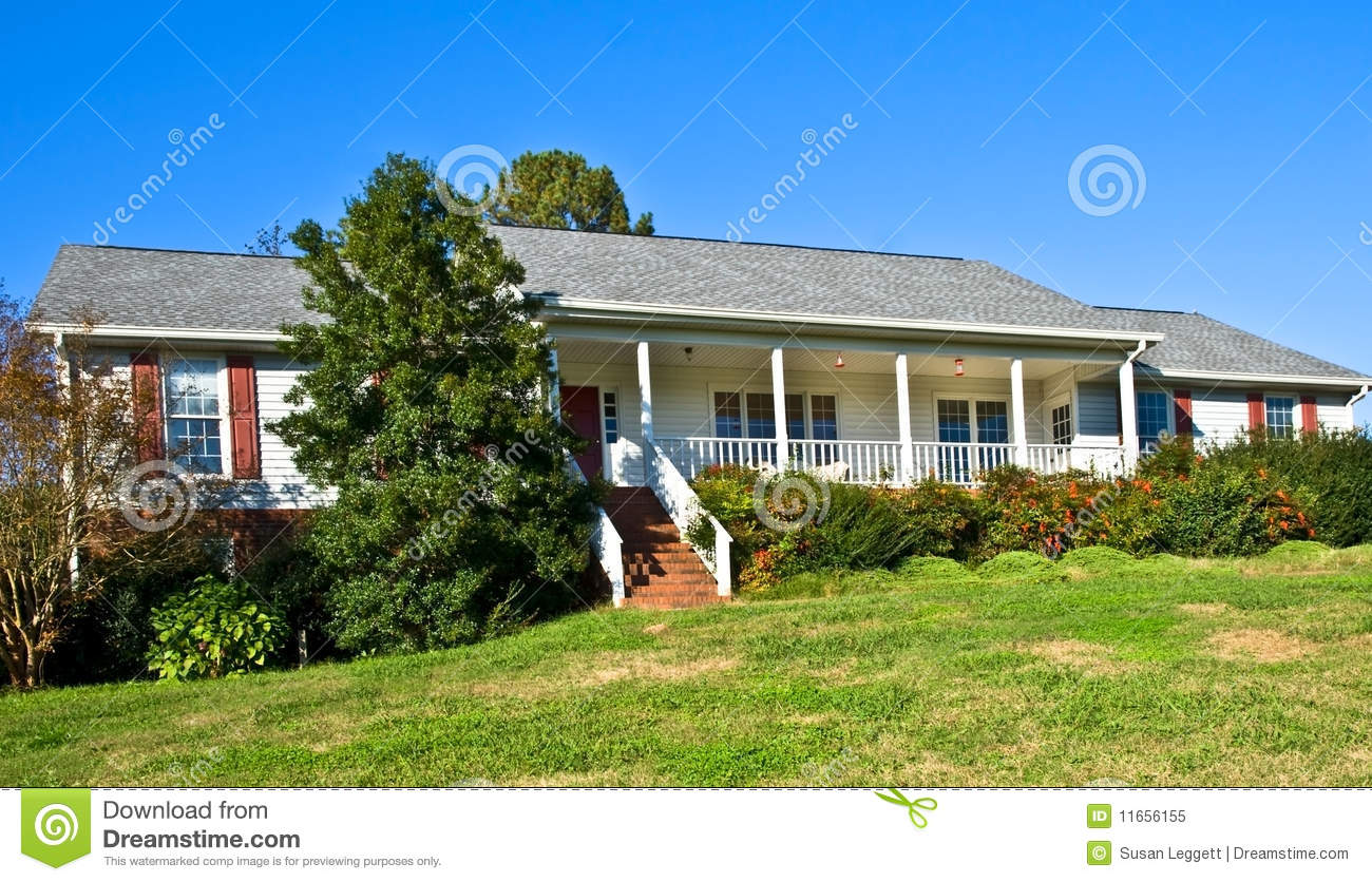 Brick and wood ranch style home royalty free stock photo Brick and wood house