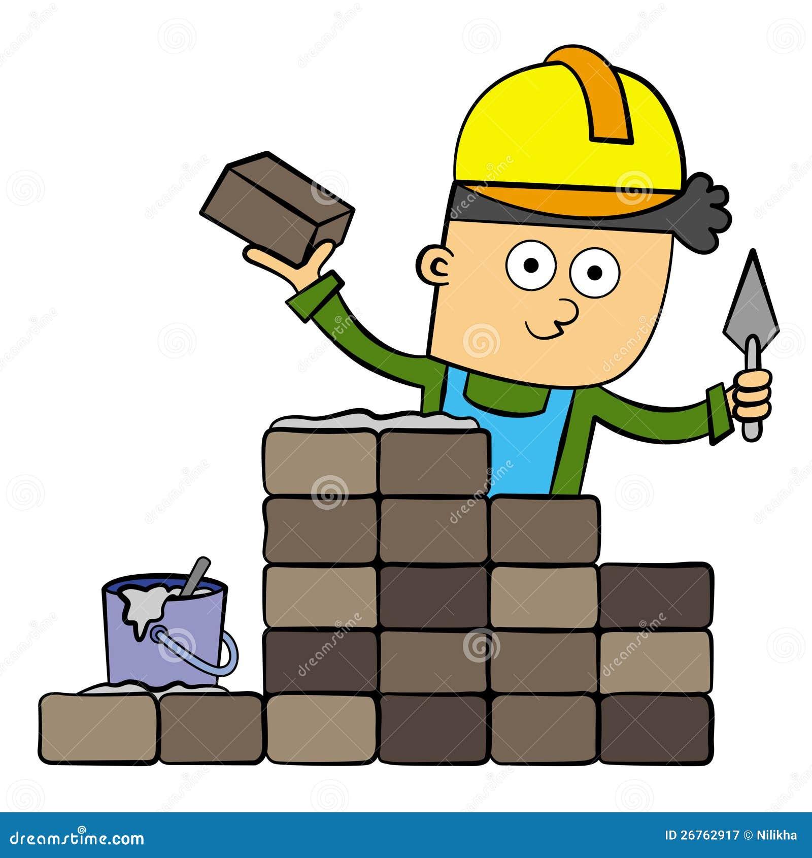 bricklayer stock illustration illustration of cement
