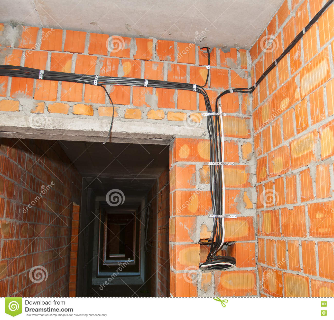 bricklayer building new house with brick walls interior rooms rh dreamstime com Wall Electrical Wiring install wiring in brick wall