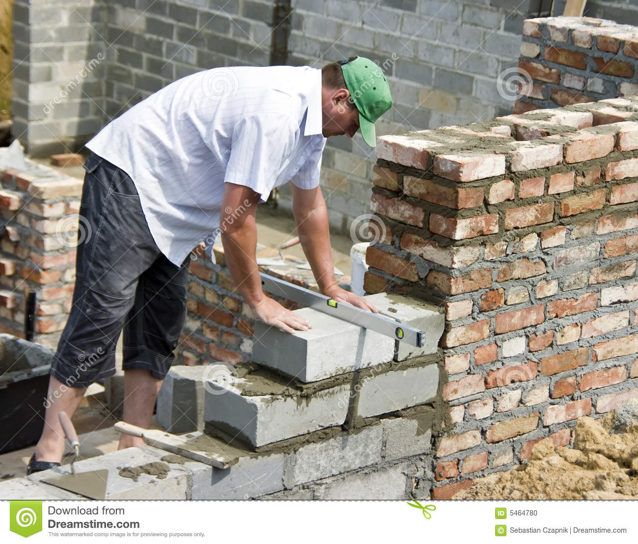 Bricklayer At Work Stock Photo Image 5464780