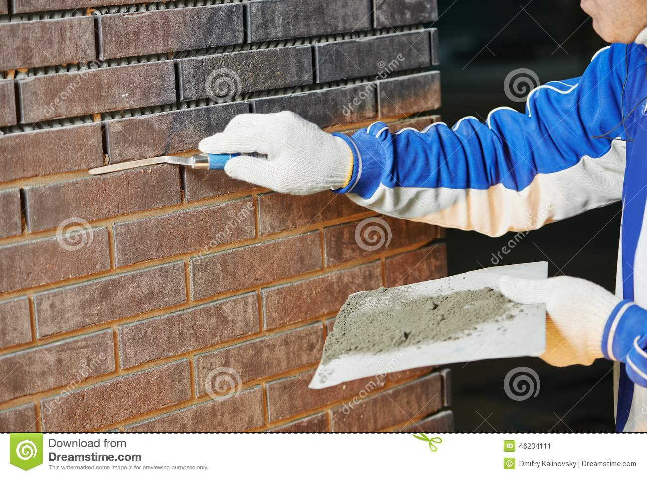 Bricklaying Using The Brick Jointer Trowel Stock Image - Image of ...