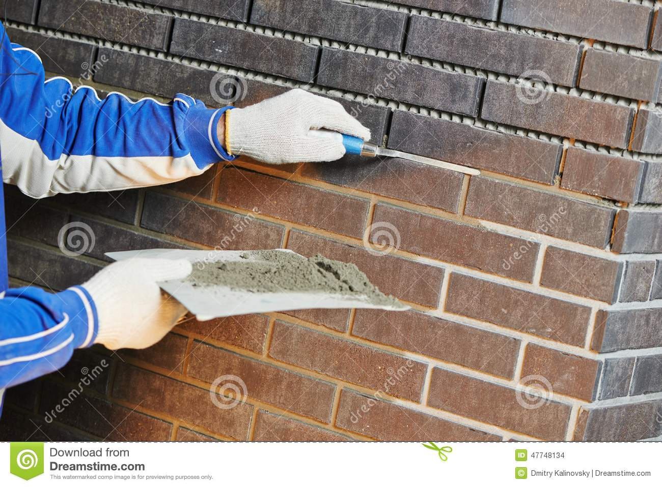 Bricklaying Using The Brick Jointer Trowel Stock Photo - Image of ...