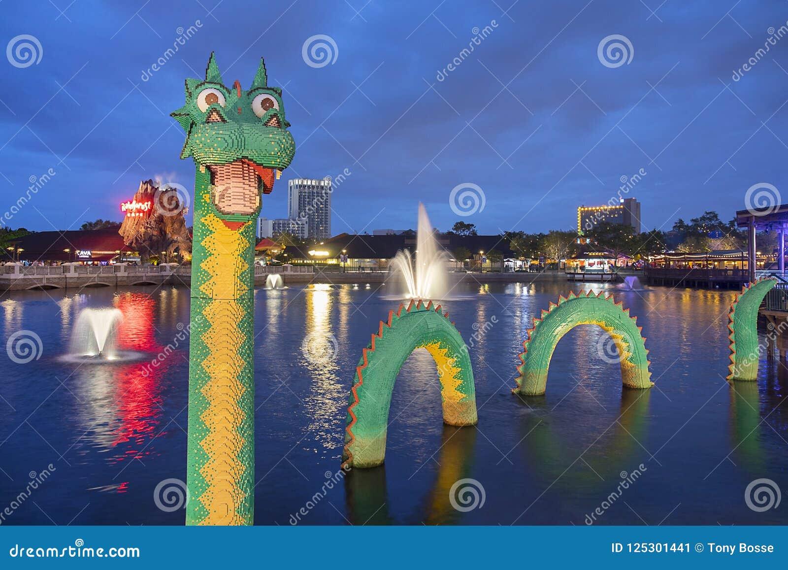 Brickley Lego Wodny smok Przy Disney wiosnami Przy nocą