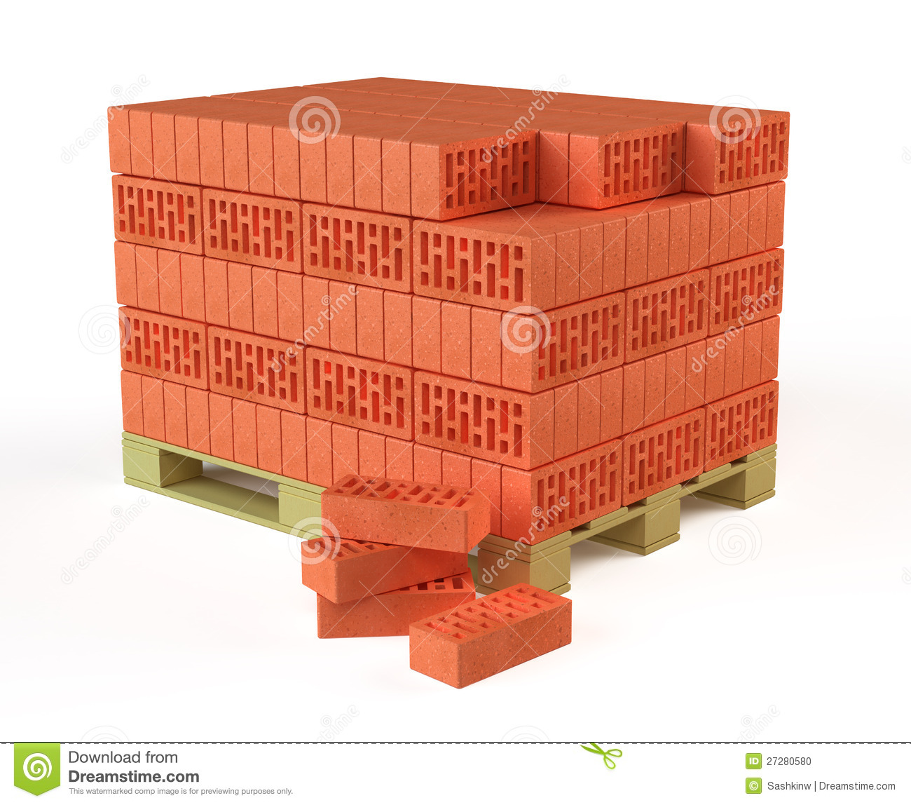 Build It Bricks Prices: Bricks On Pallet Stock Illustration. Image Of Real, Build
