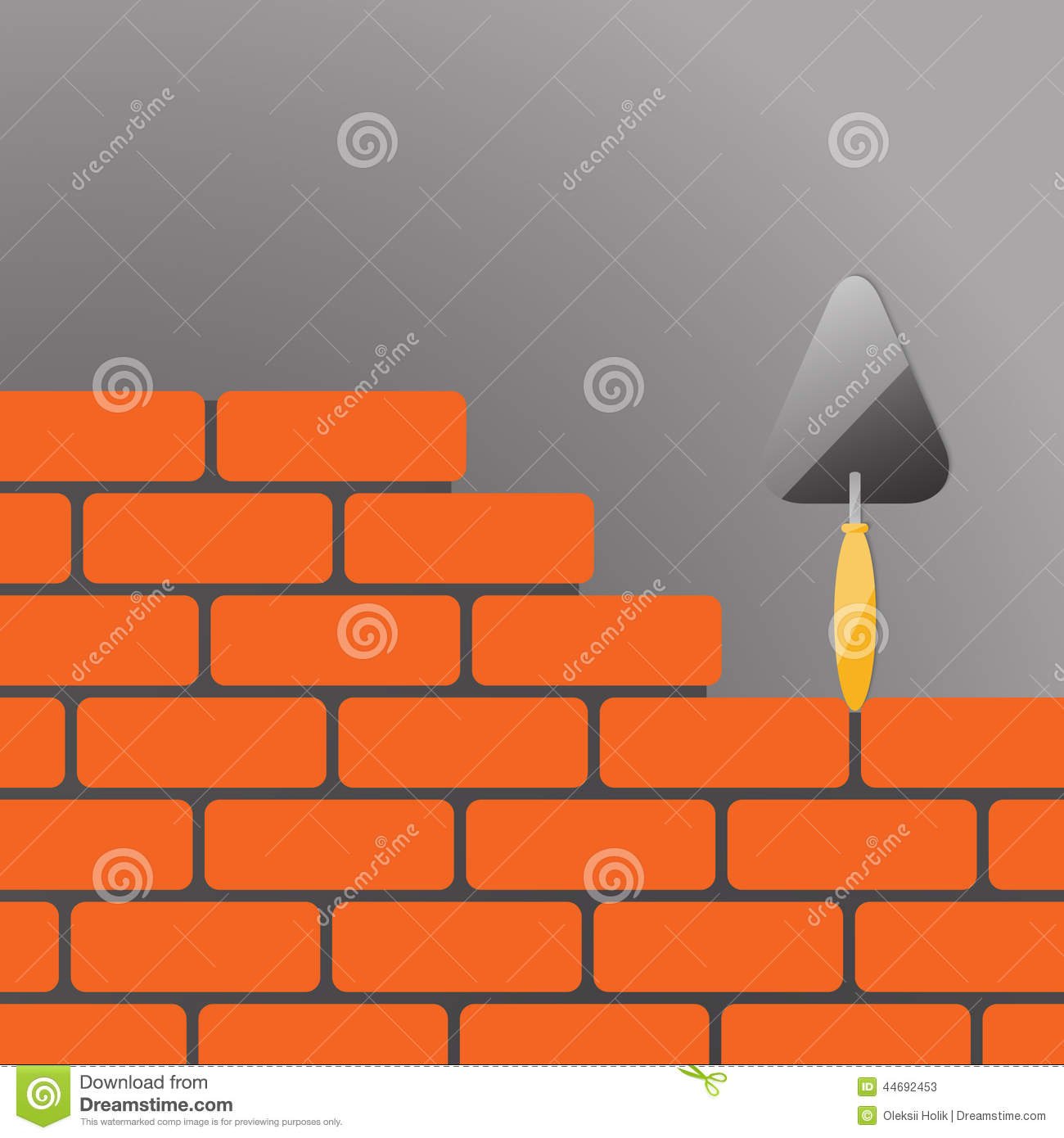 Illustrations Of A Trowel : Bricks with trowel stock illustration of