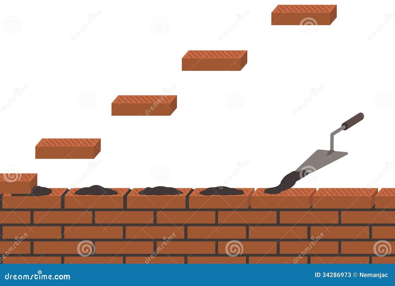 Brickwork Wall Construction White Background