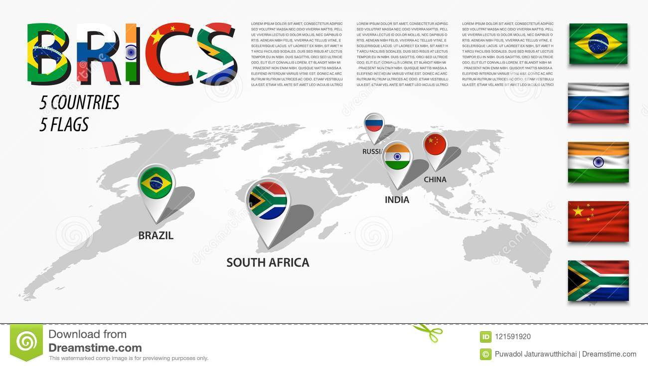 Brics Association Of 5 Countries Brazil Russia India China