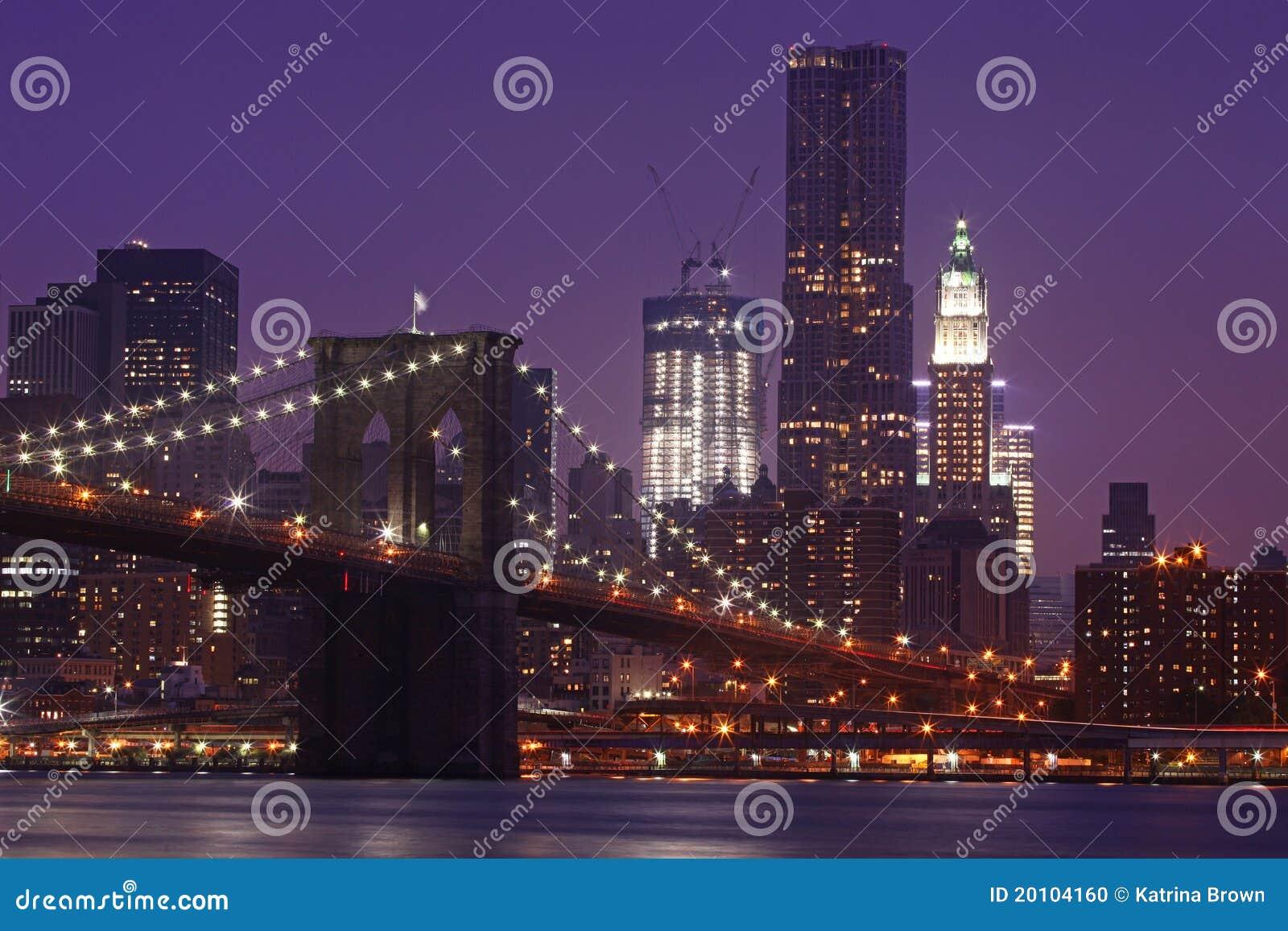 Bridżowa Brooklyn Manhattan noc nyc linia horyzontu