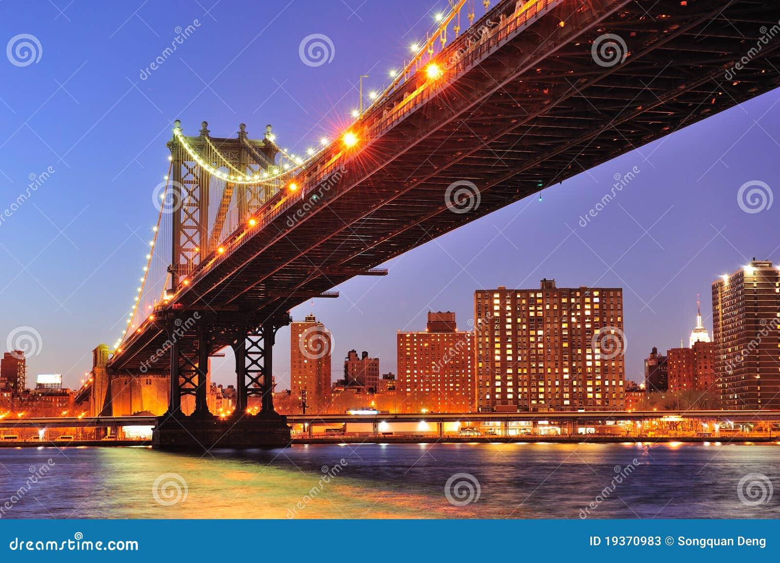 Bridżowy miasto wschodni Manhattan nowy nad rzecznym York