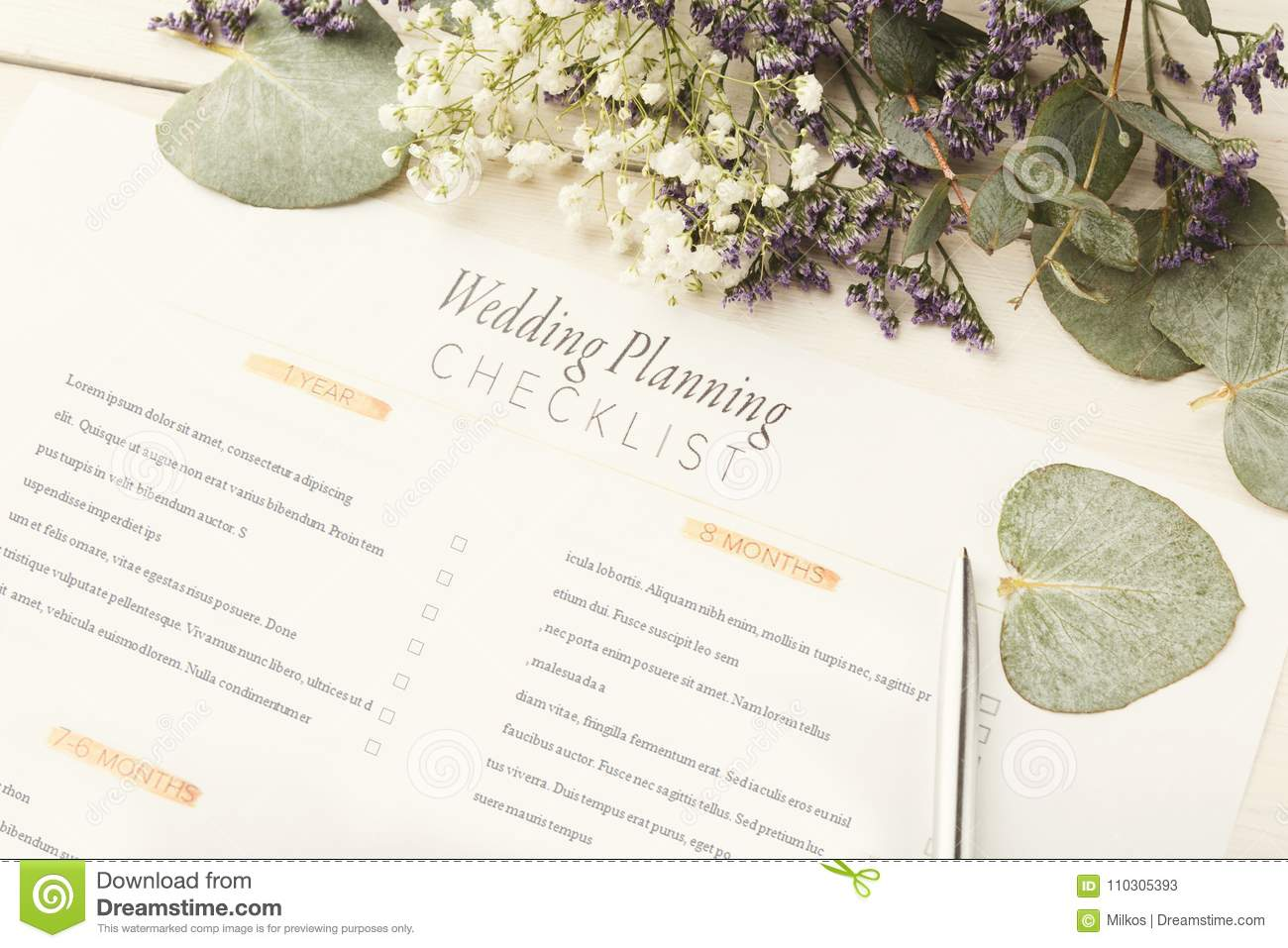 bridal background with planner checklist stock image image of