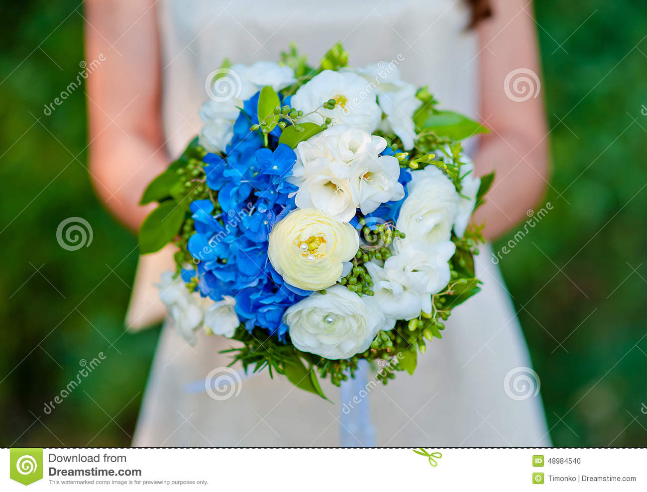 Bridal Bouquet Blue With White Flowers In The Bride\'s Hands Stock ...