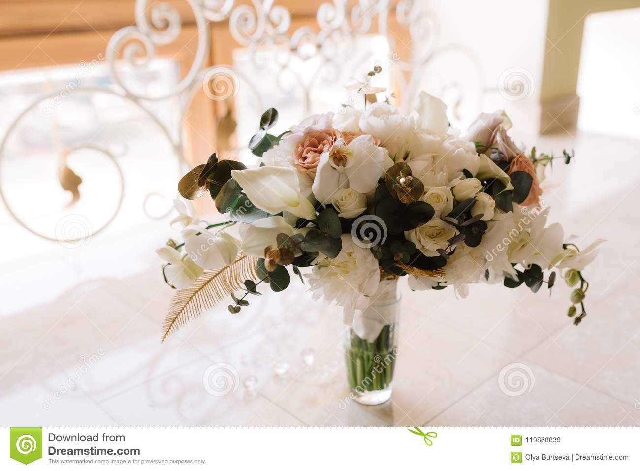 Bridal Bouquet From Gentle Details And Fresh Flowers Stock Image